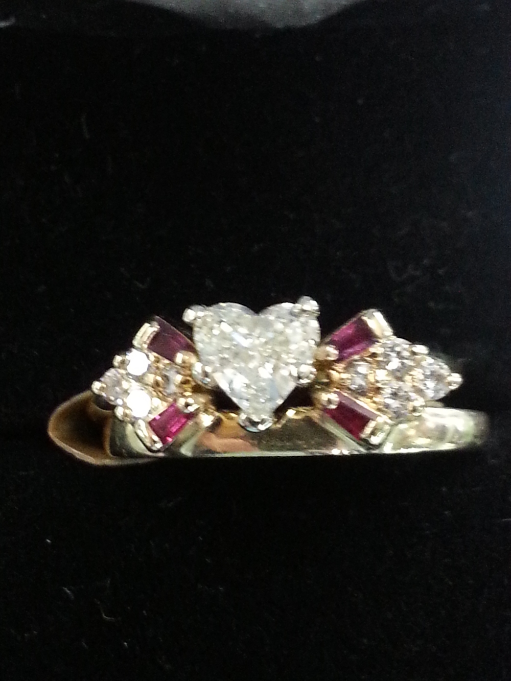 Heart Shaped Diamond with Ruby and Diamond Wrap